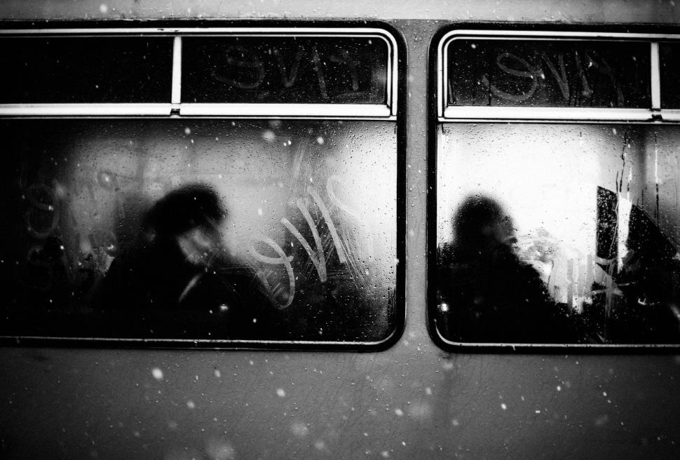 steamed side windows snow ffalling tram mono