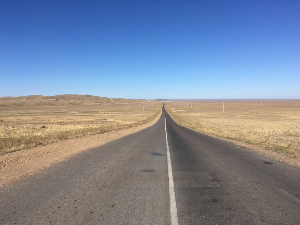 A typical road through the Kazakh steppe