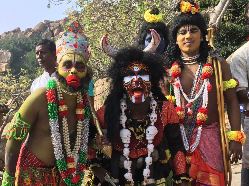 Actors dressed as Hindu gods in South India