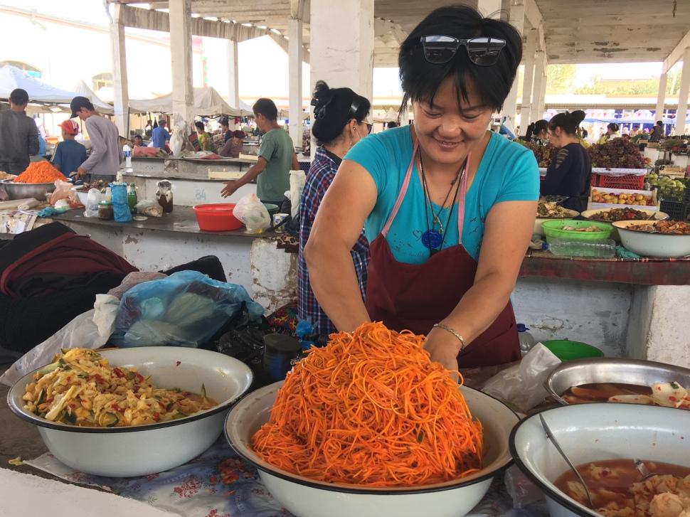 Fresh vegetables being prepared in Uzbekistan