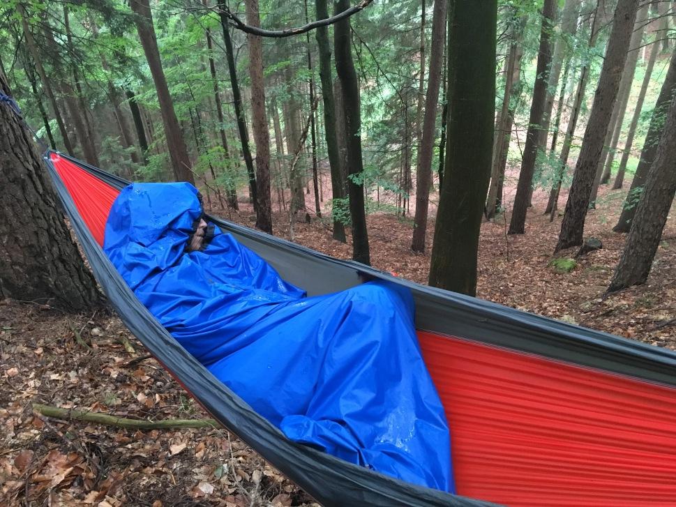 Jess' friend Ben camping in a hammock in Germany