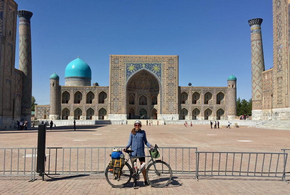 Jess in Samarkand's Registan Square